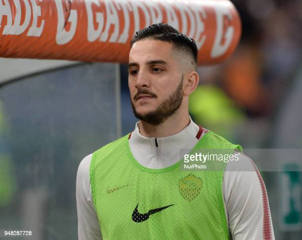 Kostas Manolas during the Italian Serie A football match between AS Roma and AC Genoa at the Olympic Stadium in Rome on april 18 2018
