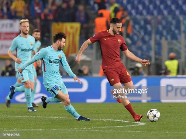 Kostas Manolas during the UEFA Champions League quarter final match between AS Roma and FC Barcelona at the Olympic stadium on April 10 2018 in Rome...