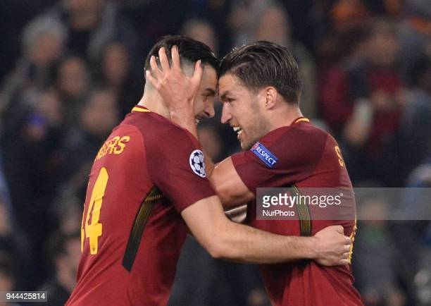 Kostas Manolas Kevin Strootman during the UEFA Champions League quarter final match between AS Roma and FC Barcelona at the Olympic stadium on April...