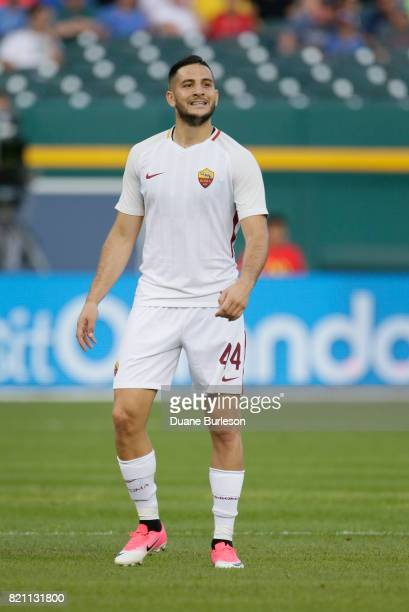 Kostas Manolas of AS Roma against Paris SaintGermain during the first half at Comerica Park on July 19 2017 in Detroit Michigan