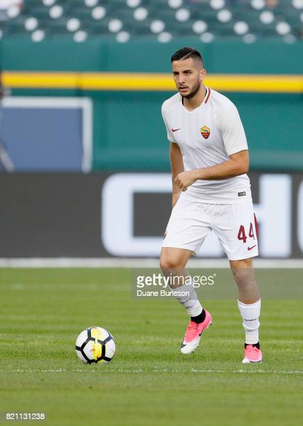 Kostas Manolas of AS Roma bring the ball up the pitch during the first half of a match against Paris SaintGermain at Comerica Park on July 19 2017 in...