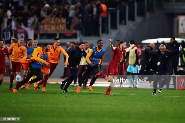 Kostas Manolas of AS Roma celebrates after scoring his sides third goal during the UEFA Champions League Quarter Final second leg match between AS...