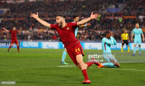 Kostas Manolas of AS Roma celebrates after scoring his sisdes third goal UEFA Champions League Quarter Final Second Leg match between AS Roma and FC...