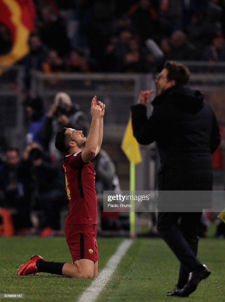 Kostas Manolas of AS Roma celebrates after scoring the opening goal during the Serie A match between AS Roma and Torino FC at Stadio Olimpico on March 9, 2018 in Rome, Italy.