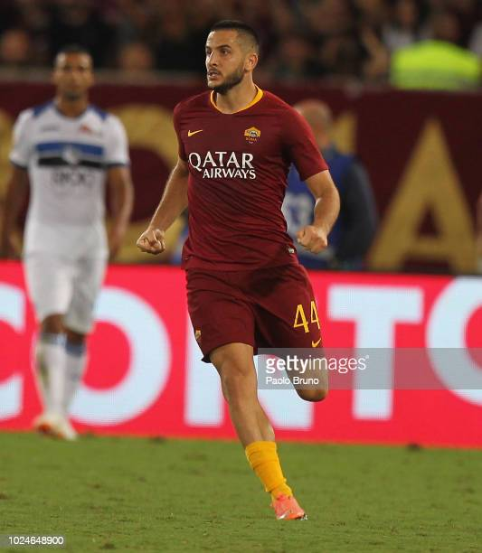 Kostas Manolas of AS Roma celebrates after scoring the team's third goal during the Serie A match between AS Roma and Atalanta BC at Stadio Olimpico...