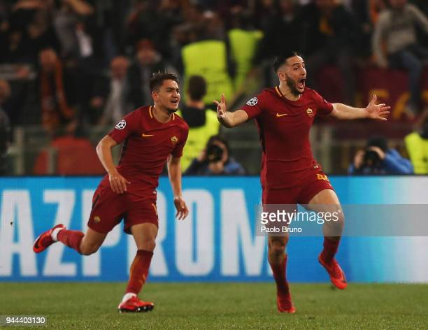 Kostas Manolas of AS Roma celebrates after scoring the team's third goal during the UEFA Champions League quarter final second leg between AS Roma...