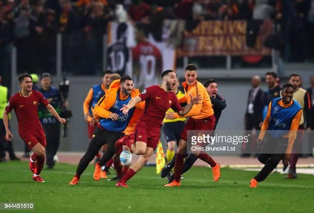 Kostas Manolas of AS Roma celebrates scoring his side's third goal during the UEFA Champions League Quarter Final second leg match between AS Roma...