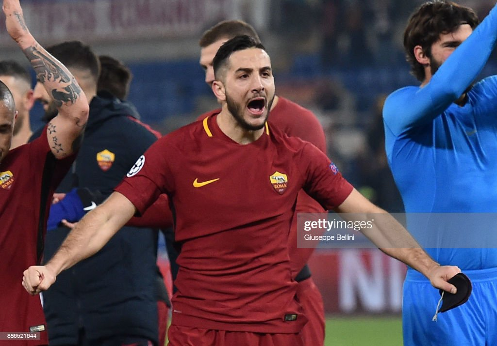 Kostas Manolas of AS Roma celebrates the victory after the UEFA Champions League group C match between AS Roma and Qarabag FK at Stadio Olimpico on December 5, 2017 in Rome, Italy.