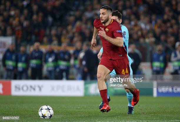 Kostas Manolas of AS Roma during the UEFA Champions League Quarter Final second leg match between AS Roma and FC Barcelona at Stadio Olimpico on...