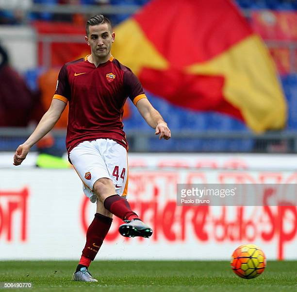 Kostas Manolas of AS Roma in action during the Serie A match between AS Roma and Hellas Verona FC at Stadio Olimpico on January 17 2016 in Rome Italy