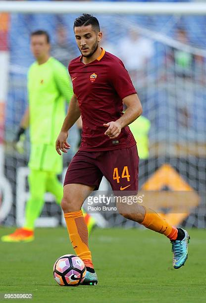 Kostas Manolas of AS Roma in action during the Serie A match between AS Roma and Udinese Calcio at Olimpico Stadium on August 20 2016 in Rome Italy