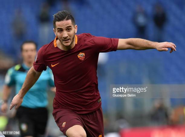 Kostas Manolas of AS Roma in action during the Serie A match between AS Roma and SSC Napoli at Stadio Olimpico on March 4 2017 in Rome Italy