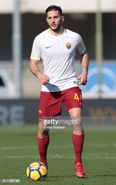 Kostas Manolas of AS Roma in action during the serie A match between Hellas Verona FC and AS Roma at Stadio Marc'Antonio Bentegodi on February 4 2018...