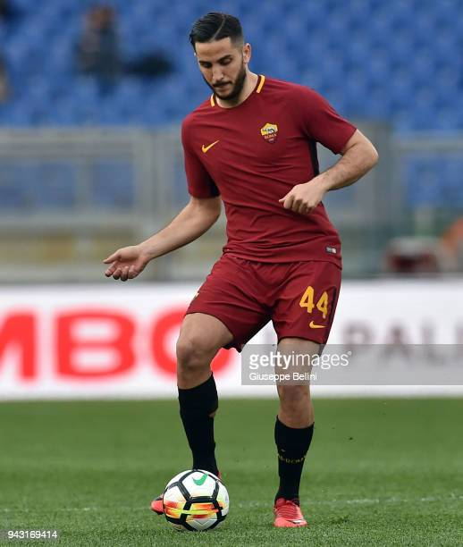 Kostas Manolas of AS Roma in action during the serie A match between AS Roma and ACF Fiorentina at Stadio Olimpico on April 7 2018 in Rome Italy