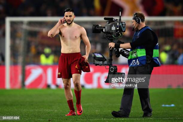 Kostas Manolas of AS Roma looks on after the UEFA Champions League Quarter Final second leg match between AS Roma and FC Barcelona at Stadio Olimpico...