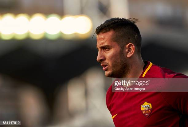 Kostas Manolas of AS Roma looks on during the preseason friendly match between Celta de Vigo and AS Roma at Balaidos Stadium on August 13 2017 in...