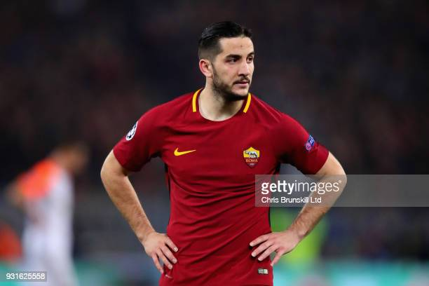 Kostas Manolas of AS Roma looks on during the UEFA Champions League Round of 16 Second Leg match between AS Roma and Shakhtar Donetsk at Stadio...