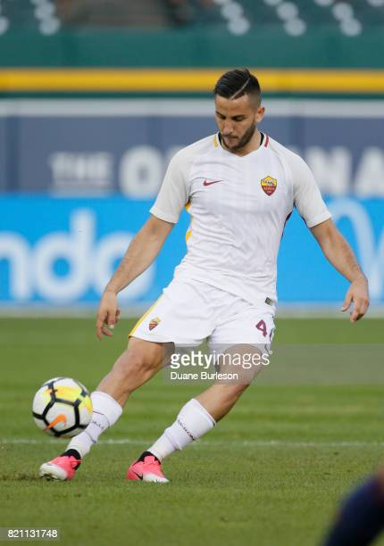 Kostas Manolas of AS Roma moves the ball against Paris SaintGermain during the first half at Comerica Park on July 19 2017 in Detroit Michigan