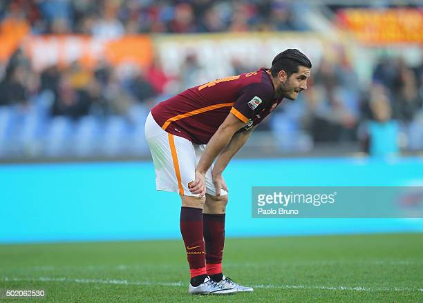 Kostas Manolas of AS Roma reacts during the Serie A match between AS Roma and Genoa CFC at Stadio Olimpico on December 20 2015 in Rome Italy