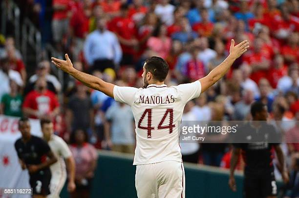 Kostas Manolas of AS Roma reacts to a call during a friendly match against Liverpool FC at Busch Stadium on August 1 2016 in St Louis Missouri AC...