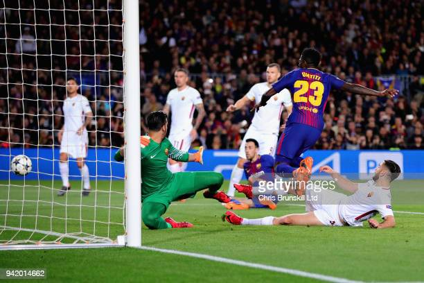 Kostas Manolas of AS Roma scores an own goal during the UEFA Champions League Quarter Final first leg match between FC Barcelona and AS Roma at Camp...