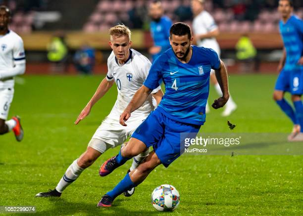 Kostas Manolas of Greece controls the ball during the UEFA Nations League group stage football match Finland v Grece in Tampere Finland on October 15...