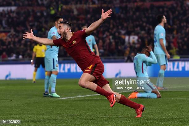 Kostas Manolas of Roma celebrates after scoring his team third goal during the UEFA Champions League Quarter Final second leg match between AS Roma...