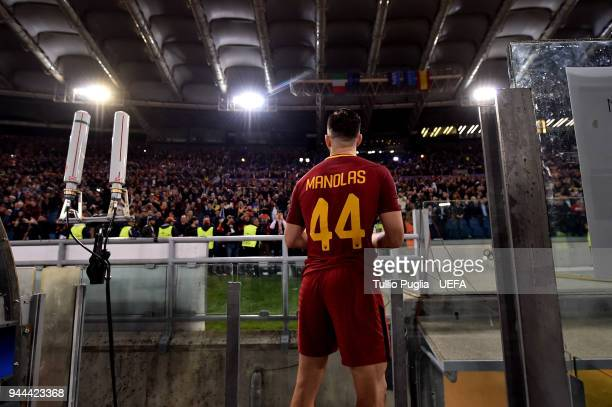 Kostas Manolas of Roma greets supporter after winning the UEFA Champions League Quarter Final second leg match between AS Roma and FC Barcelona at...
