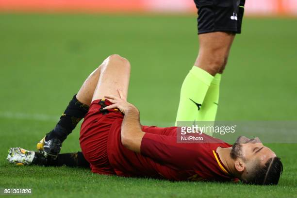 Kostas Manolas of Roma injured during the Italian Serie A football match AS Roma vs Napoli at the Olympic Stadium in Rome on October 14 2017