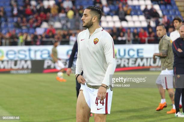 Kostas Manolas of Roma injured during the serie A match between Cagliari Calcio and AS Roma at Stadio Sant'Elia on May 6 2018 in Cagliari Italy