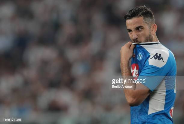 Kostas Manolas of SSC Napoli reacts during the Serie A match between Juventus and SSC Napoli at Allianz Stadium on August 31 2019 in Turin Italy