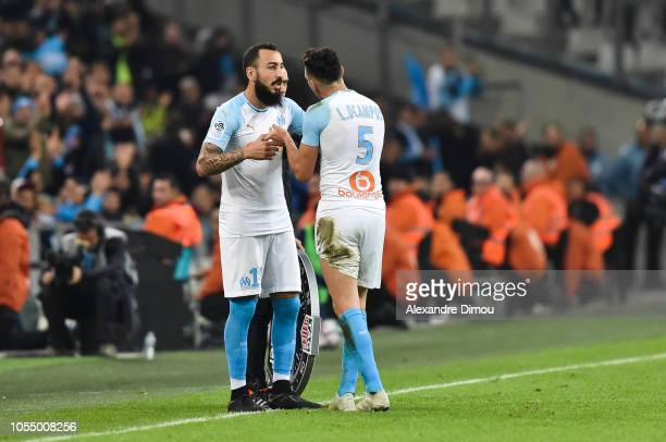 Kostas Mitroglou and Lucas Ocampos of Marseille during the Ligue 1 match between Olympique Marseille and Paris Saint Germain on October 28 2018 in...