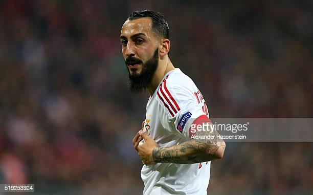 Kostas Mitroglou of Benfica looks on during the UEFA Champions League quarter final first leg match between FC Bayern Muenchen and SL Benfica at...