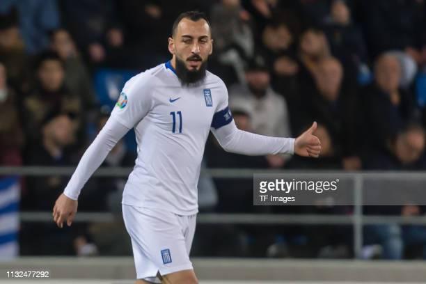 Kostas Mitroglou of Greece gestures during the 2020 UEFA European Championships group J qualifying match between Liechtenstein and Greece at...