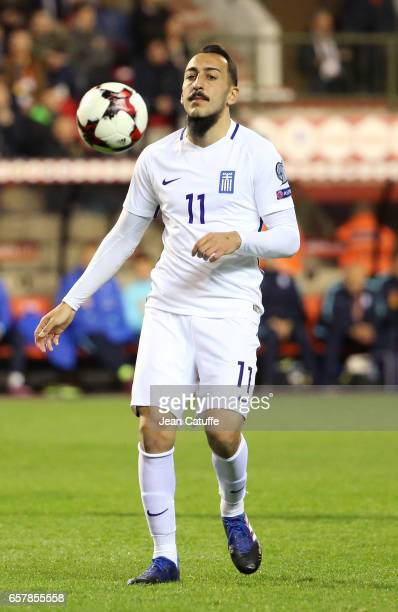 Kostas Mitroglou of Greece in action during the FIFA 2018 World Cup Qualifier between Belgium and Greece at Stade Roi Baudouin on March 25 2017 in...