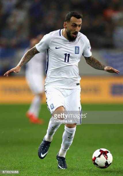 Kostas Mitroglou of Greece in action during the FIFA 2018 World Cup Qualifier PlayOff Second Leg between Greece and Croatia at Karaiskakis Stadium on...