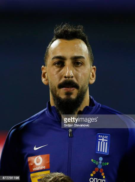 Kostas Mitroglou of Greece looks on prior the FIFA 2018 World Cup Qualifier PlayOff First Leg between Croatia and Greece at Stadion Maksimir on...