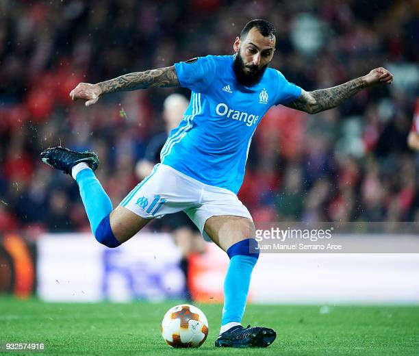 Kostas Mitroglou of Marseille controls the ball during UEFA Europa League Round of 16 match between Athletic Club Bilbao and Olympique Marseille at...