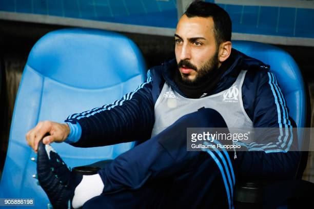 Kostas Mitroglou of Marseille during the Ligue 1 match between Olympique Marseille and Strasbourg at Stade Velodrome on January 16 2018 in Marseille