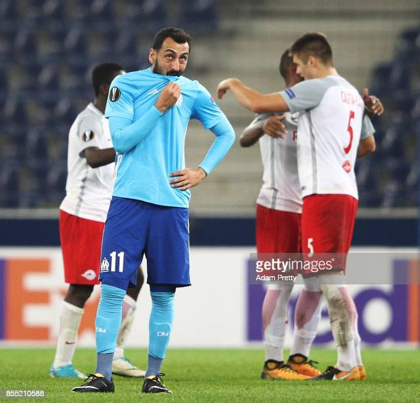 Kostas Mitroglou of Marseille is dejected after losing the UEFA Europa League group I match between RB Salzburg and Olympique Marseille at Red Bull...
