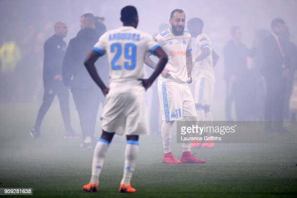 Kostas Mitroglou of Marseille looks dejected following the UEFA Europa League Final between Olympique de Marseille and Club Atletico de Madrid at...