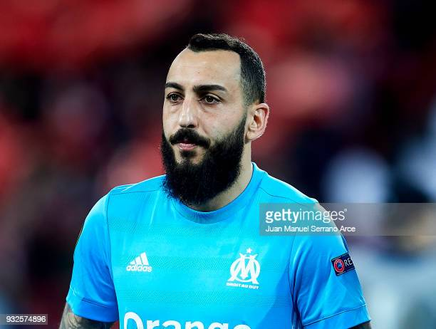 Kostas Mitroglou of Marseille reacts during UEFA Europa League Round of 16 match between Athletic Club Bilbao and Olympique Marseille at the San...