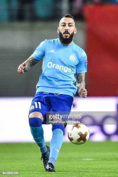 Kostas Mitroglou of Olympique Marseille passes the ball during the UEFA Europa League quarter final leg one match between RB Leipzig and Olympique...