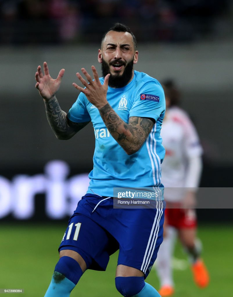 Kostas Mitroglou of Olympique Marseille reacts during the UEFA Europa League quarter final leg one match between RB Leipzig and Olympique Marseille at the Red Bull Arena on April 5, 2018 in Leipzig, Germany.