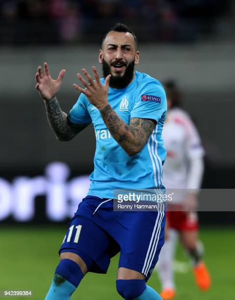 Kostas Mitroglou of Olympique Marseille reacts during the UEFA Europa League quarter final leg one match between RB Leipzig and Olympique Marseille...