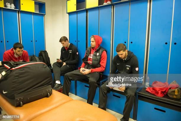 Kostas Papanikolaou #16 of Olympiacos Piraeus Dimitrios Agravanis Georgios Bogris #31 and Vassilis Toliopoulos #4 at locker room prior the 2017/2018...