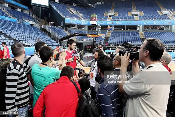 Kostas Papanikolaou #16 of Olympiacos Piraeus during the Olympiacos Piraeus Practice of Turkish Airlines Euroleague Final Four at Sinan Erdem Dome on...