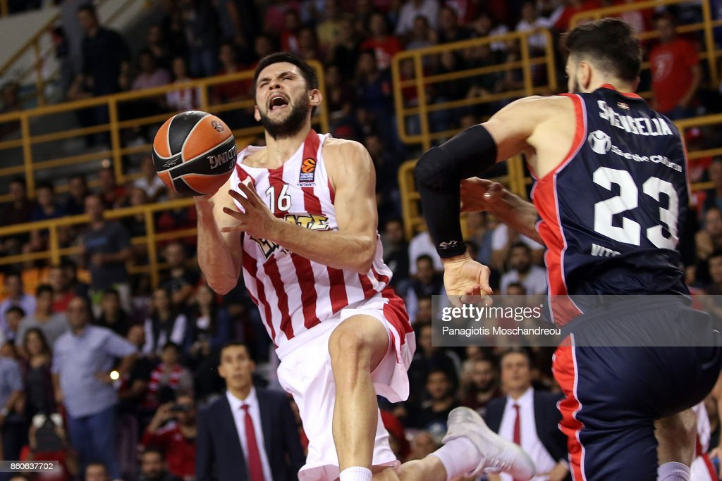 Kostas Papanikolaou, #16 of Olympiacos Piraeus in action during the 2017/2018 Turkish Airlines EuroLeague Regular Season Round 1 game between Olympiacos Piraeus v Baskonia Vitoria Gasteiz at Heraklion Arena on October 12, 2017 in Heraklion, Crete, Greece.