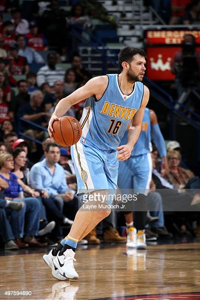 Kostas Papanikolaou of the Denver Nuggets handles the ball during the game on November 17 2015 at the Smoothie King Center in New Orleans Louisiana...