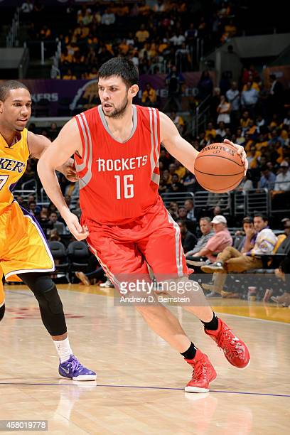 Kostas Papanikolaou of the Houston Rockets drives against the Los Angeles Lakers on October 28 2014 at the Staples Center in Los Angeles California...